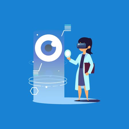 Female doctor with VR glasses looking at human eye, medical clinic worker uses virtual reality to make diagnosis, futuristic medicine technology - flat cartoon vector illustration