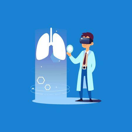 Docteur pulmonaire utilisant la technologie de réalité virtuelle pour un examen médical, spécialiste de la santé en dessin animé dans des lunettes VR regardant les poumons, innovation hospitalière moderne - illustration vectorielle isolée à plat