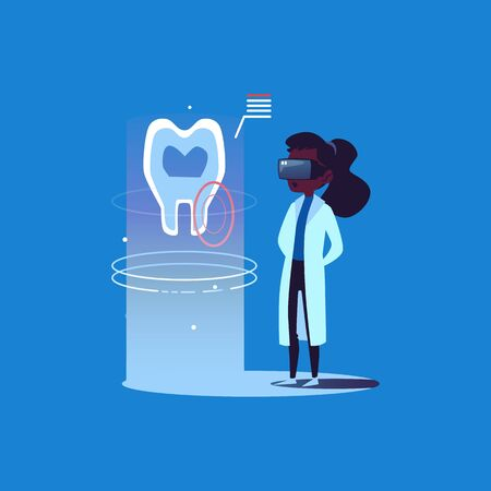 African American woman doctor dentist in virtual augmented digital reality glasses looking at a hologram of a tooth. Virtual reality technology for doctors and dentists, flat vector illustration.