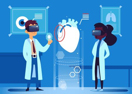 Two doctors use virtual reality VR glasses to look at human heart, futuristic method of medical diagnosis via modern technology, health innovation - flat hand drawn cartoon vector illustration
