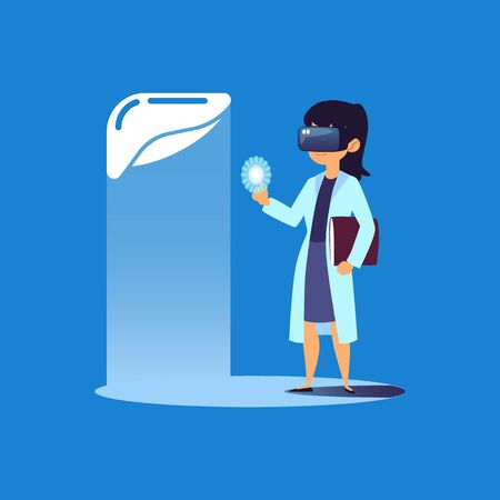 Scientist or medical laboratory doctor using virtual reality technology to create human organ implants, flat vector cartoon illustration isolated on the blue background. Foto de archivo - 128170938