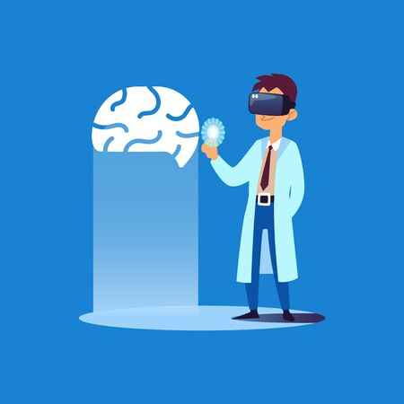 Doctor looking at human brain 3D model using virtual reality glasses, medical professional with futuristic technology makes digital diagnosis, flat isolated cartoon vector illustration
