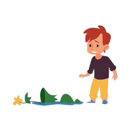 Bambino triste che guarda un vaso rotto, un ragazzo colpevole dei cartoni animati in difficoltà ha rotto un vaso di fiori in pezzi. Il ragazzino è dispiaciuto per l'incidente, illustrazione vettoriale disegnata a mano piatta isolata su sfondo bianco
