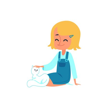 Cute little Caucasian baby girl blonde sitting, smiling and stroking a white cat. Good kids behavior, isolated vector flat cartoon illustration. Çizim
