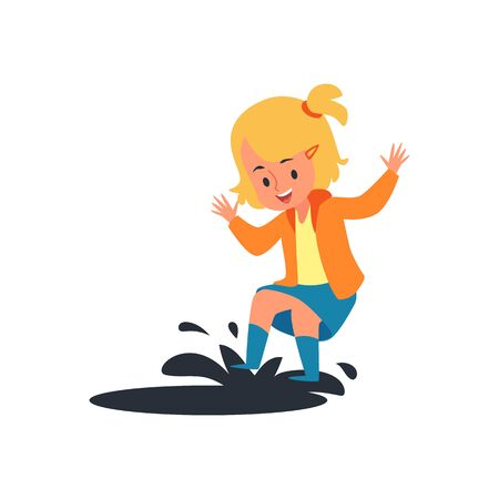 Happy child jumping on rain puddle, little blonde girl having fun splashing mud water with her spring boots, rainy weather play - isolated flat cartoon vector illustration on white background Çizim