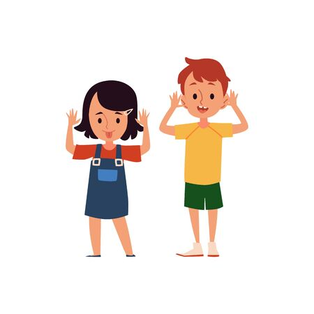 Cartoon girl and boy with mock and taunting facial expression, children with bad behavior showing tongue