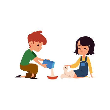 Kind kids feeding a stray white cat, cute cartoon boy and girl pour food into cats bowl and pet it, happy childhood experience for sweet children - isolated flat vector illustration