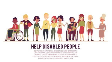 Help and support of disabled or handicapped people banner with cartoon diverse characters, in wheelchair and healthy. Flat vector illustration isolated on white background.