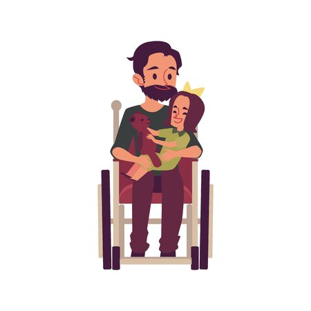 Disabled or handicapped man in the wheelchair holds a child on his knees the flat vector illustration isolated on white background. Help and support of invalid people. Archivio Fotografico - 128170950