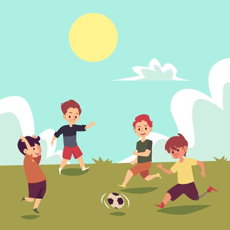 Children playing soccer on summer field, disabled boy running with football, child with prosthetic leg part of a ball game team, cartoon flat hand drawn vector illustration