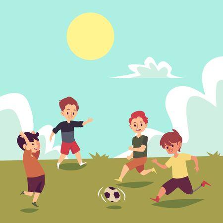 Niños jugando al fútbol en el campo de verano, niño discapacitado corriendo con fútbol, niño con pierna protésica como parte de un equipo de juego de pelota, ilustración vectorial dibujada a mano plana de dibujos animados