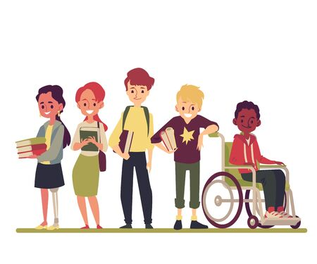 A boy is disabled in a wheelchair and a girl with disabilities and prosthetic legs is standing with friends with teenagers with books. Isolated vector illustration in a flat cartoon style.