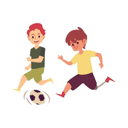 Disabled child playing soccer game with friend, happy cartoon boy with prosthetic leg kicking a football to score goal. Kid with disability running with a ball - isolated flat vector illustration