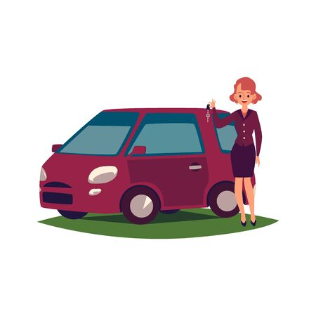 Beautiful young woman driver with new car cartoon flat vector illustration isolated on white background. Attractive female enjoys of buying or driving vehicle.
