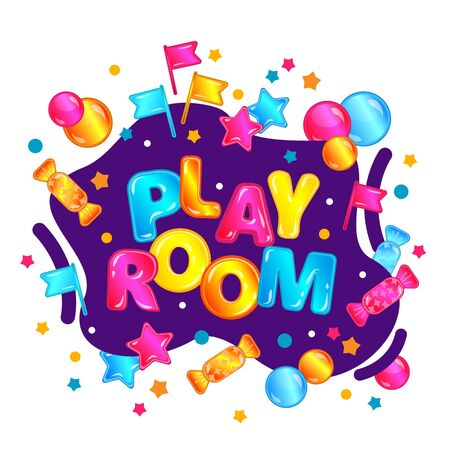 Banner for kids play room in bright cartoon style with neon splashes and stars Vecteurs