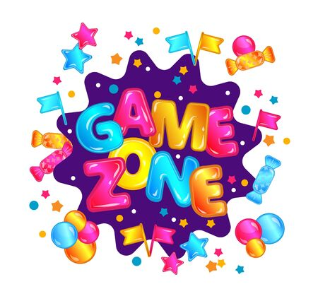 Isolated game zone banner sticker with fun text, star candy confetti explosion and colorful bubbles.