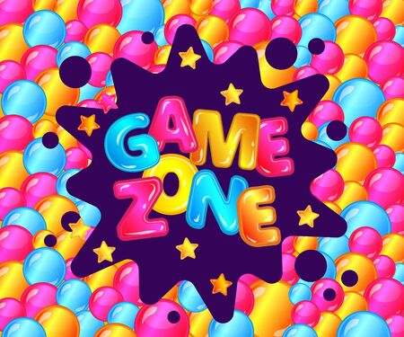 Game zone fun poster for kids entertainment area, play room ad for child activity park, colorful text sticker on balloon pit bubble filled background, shiny cartoon vector illustration Illustration