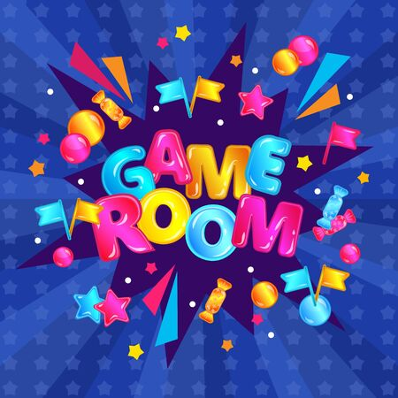 Childrens game room decoration element or banner for play area in the cartoon style