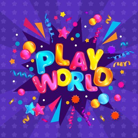 Monde de jeu - bannière carrée colorée pour la zone de jeu pour enfants avec une typographie amusante et une explosion de banderoles de confettis avec des étoiles et des bulles, conception de signe d'étiquette de fête pour enfants - illustration vectorielle