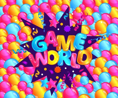 Game world inscription in colorful volumetric letters among balloons and stars cartoon