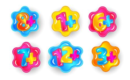 Child age restriction cartoon sticker set, colorful numbers with plus sign, product information is suitable for young children. 1, 3, 6, 7, 8,12 plus limit isolated vector illustration collection