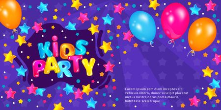 Kids party flyer or invitation in cartoon style with balloons and boom frame vector illustration on the blue background. Children birthdays and celebrations invitation card.