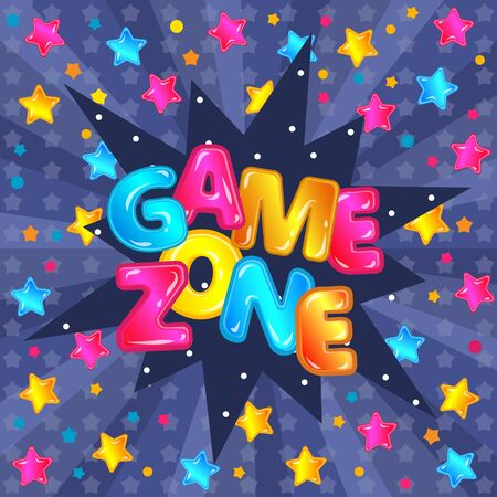 Game zone lettering and text  with stars for children banner of kids room or playground. Stock Illustratie
