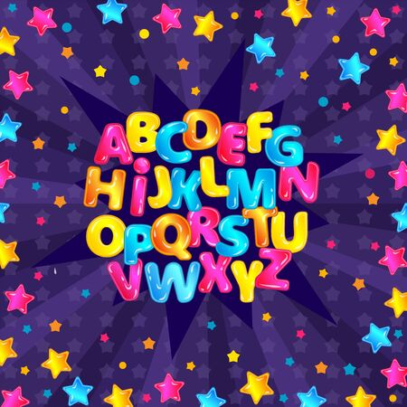 Colorful fun English alphabet set with glossy cartoon letters and starry purple background, star explosion letter design with cute type characters - vector illustration