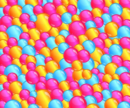 Colorful bubble ball pit background filled with fun pink, yellow, blue bubbles, shiny sphere candy or gumball pattern, bright colored circle shapes in wallpaper for children - vector illustration