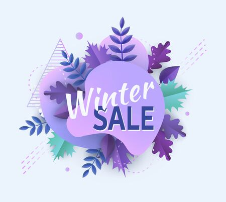 Winter season sale advertising or promotional banner with abstract curved shape and leaves the vector illustration isolated on white background. Holiday offer and discount.
