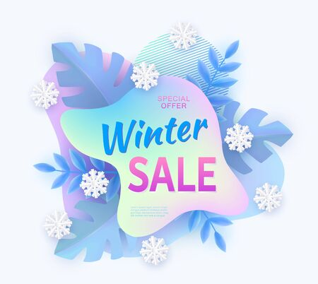 Winter sale advertising banner with abstract curved shape, leaves and snowflakes the vector illustration isolated on white background. Holiday offer and discount concept.