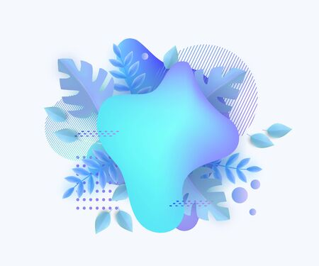 Icy blue winter card design template with blue leaves behind abstract blob shape, modern geometric banner with blank text space