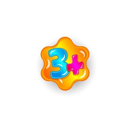 Etiqueta adhesiva de restricción de edad para 3 niños. Tres signo más con el número de dibujos animados coloridos aislado en blanco Ilustración de vector