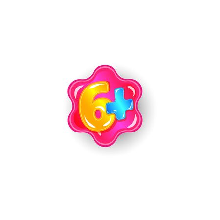 Six plus 6+ age restriction limit label concept with colorful number on star shape with bubble gum texture, pink sticker icon for suitable kids age, isolate vector illustration on white background 向量圖像