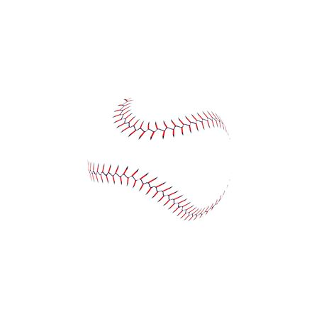 Baseball ball double stitch seam line with realistic lace texture, wavy softball game equipment laces isolated on white background, abstract sport symbol vector illustration Ilustração