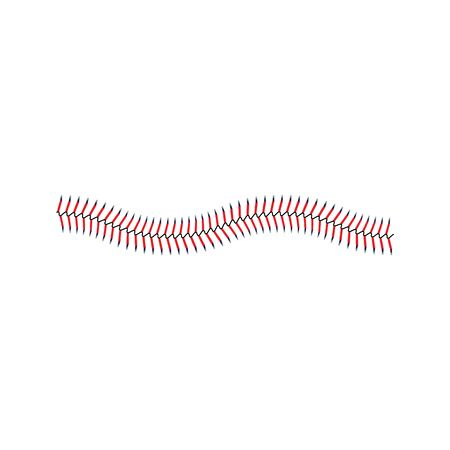 Winding line of red stitches or lace ornament of the leather game ball the graphic vector illustration isolated on white background. Element for textile or promo design.