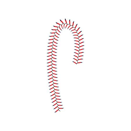 Baseball lace or classic red seam of the softball curved element, vector illustration isolated on white background. Baseball game balls stitches for sportive artworks.