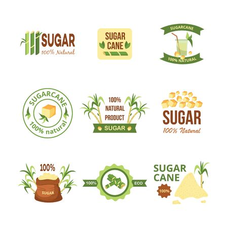 Sugar cane product label set, 100% natural sugarcane product badge with farm plant stalks, brown sacks and sweet drink, isolated agriculture icon collection vector illustration Illustration