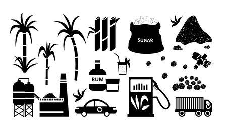 Zwart-wit suikerriet icon set, platte omtrek van boerderij boom stengels en alternatieve suikerriet energiecentrale en auto pompen gas op station, rum drankje en zak suiker