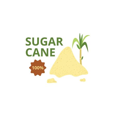 Sugar cane green plants with quality badge and heap of brown organic sugar