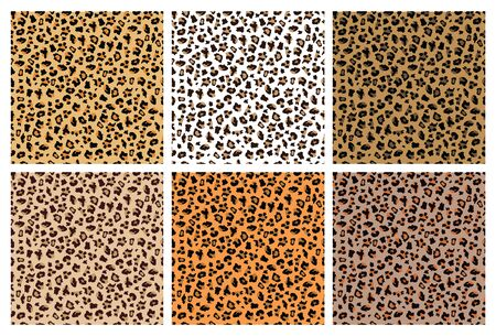 Set of leopard or jaguar seamless patterns or prints