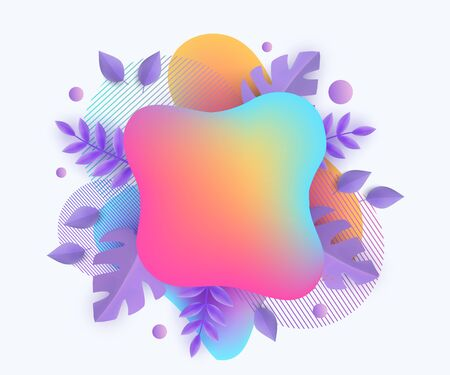 Ranbow abstract spots and blobs with plants leaves banner vector illustration isolated on white background. Ready element for advertising and sale event design.