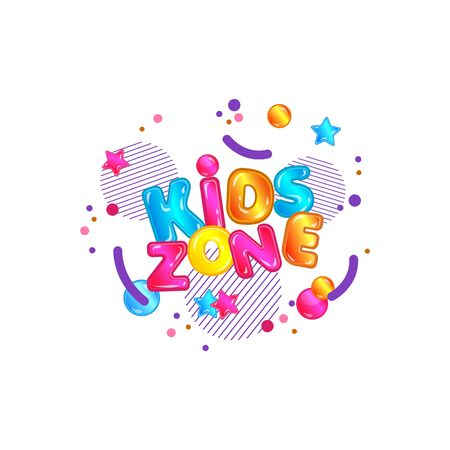 Kids zone lettering and text with glossy and fun shapes, circles and stars for banner of game room, zone and playground.
