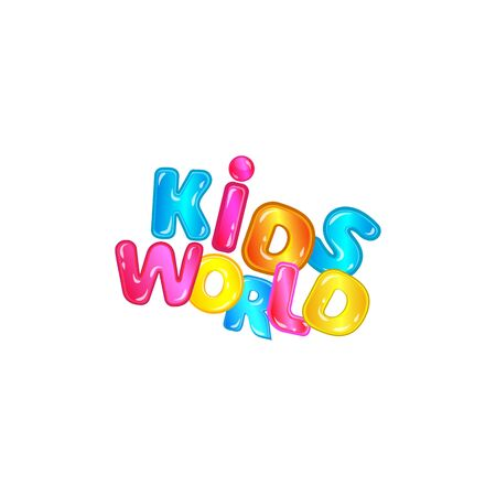Kids world - fun colorful font typography with blue, pink, yellow cartoon letters with shiny texture isolated on white