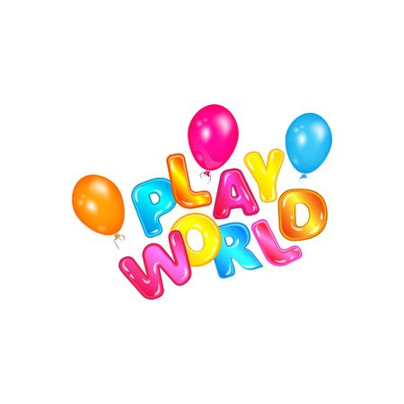 Play world label flying with colorful helium balloons, children fun game zone logo with cartoon letters