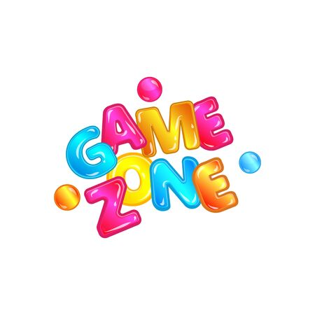 Game zone - colorful isolated typography logo for children playground