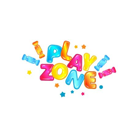 Colorful banner for childrens play zone with cartoon letters and candies