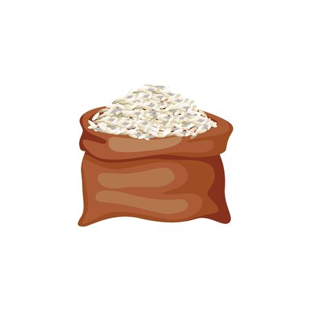 Brown rice grains in burlap sack or bag cartoon vector illustration isolated on white background. The icon for healthy agricultural food and organic products projects.