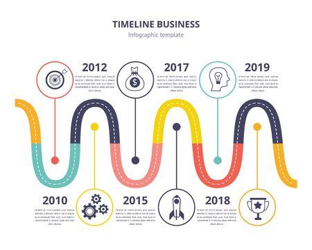 Modello di infografica aziendale timeline - grafico a linee d'onda con processo storico di invenzione o progresso, modello di pagina di presentazione con anni di data storica - illustrazione vettoriale piatto isolato