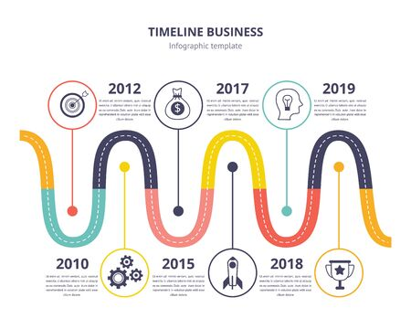 Timeline business infographic template - wave line chart with historic process of invention or progress, presentation page template with historic date years - isolated flat vector illustration